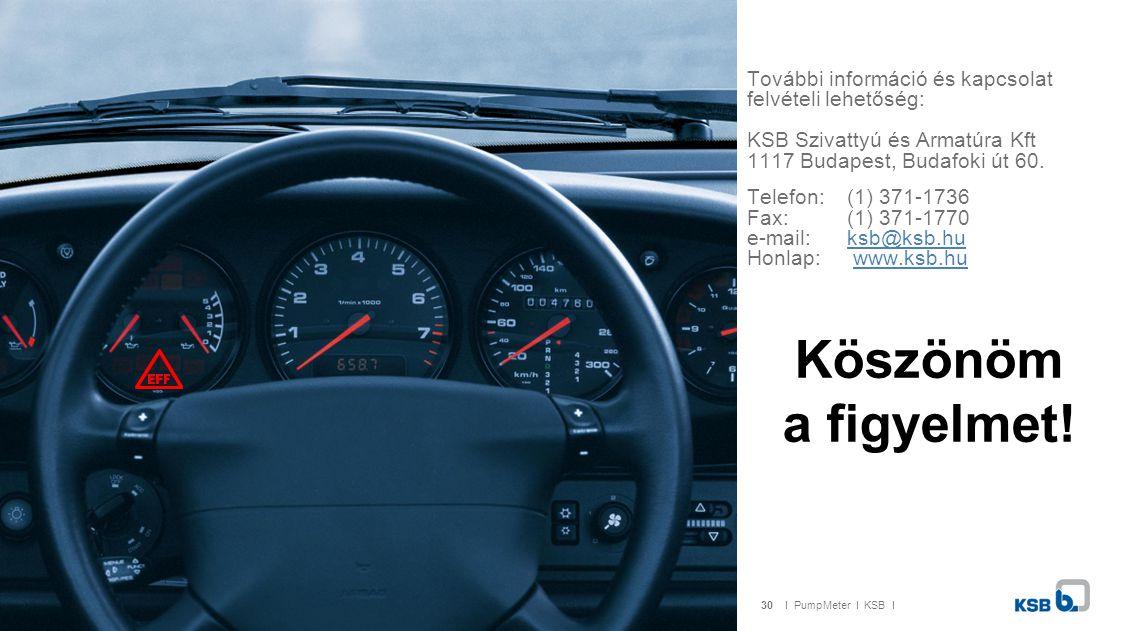 30I PumpMeter I KSB I Köszönöm a figyelmet! További információ és kapcsolat felvételi lehetőség: KSB Szivattyú és Armatúra Kft 1117 Budapest, Budafoki