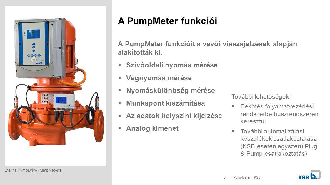 8I PumpMeter I KSB I A PumpMeter funkciói A PumpMeter funkcióit a vevői visszajelzések alapján alakították ki.  Szívóoldali nyomás mérése  Végnyomás