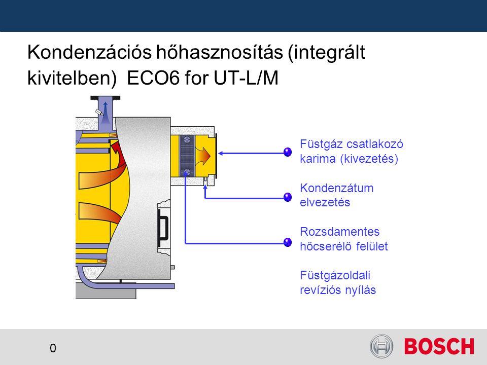 0 Kondenzációs hőhasznosítás (integrált kivitelben) ECO6 for UT-L/M Füstgáz csatlakozó karima (kivezetés) Kondenzátum elvezetés Rozsdamentes hőcserélő