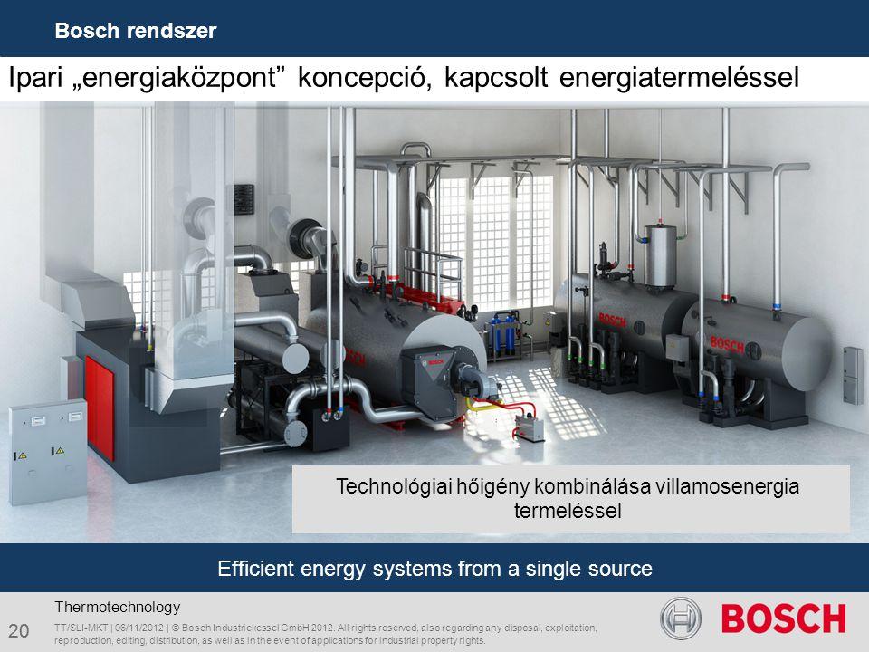 "Ipari ""energiaközpont"" koncepció, kapcsolt energiatermeléssel TT/SLI-MKT | 06/11/2012 | © Bosch Industriekessel GmbH 2012. All rights reserved, also r"
