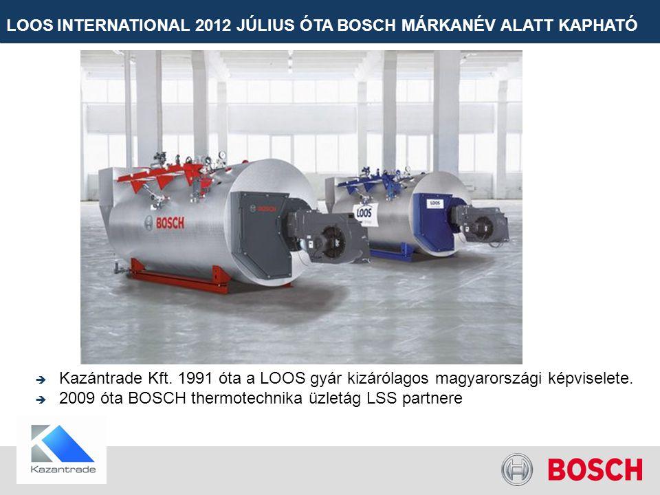 LOOS INTERNATIONAL 2012 JÚLIUS ÓTA BOSCH MÁRKANÉV ALATT KAPHATÓ  Kazántrade Kft. 1991 óta a LOOS gyár kizárólagos magyarországi képviselete.  2009 ó