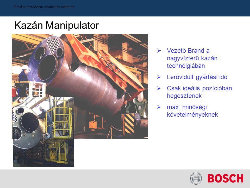 ProductionModern production methods Kazán Manipulator  Vezető Brand a nagyvízterű kazán technolgiában  Lerövidült gyártási idő  Csak ideális pozíci