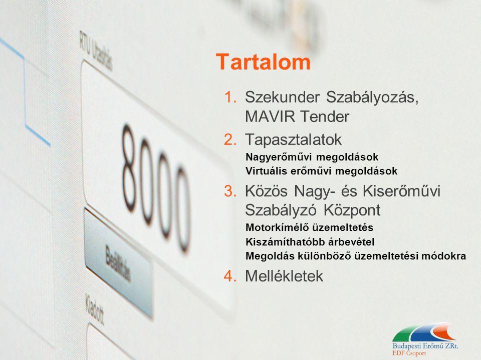 Tartalom 1.Szekunder Szabályozás, MAVIR Tender 2.Tapasztalatok Nagyerőművi megoldások Virtuális erőművi megoldások 3.Közös Nagy- és Kiserőművi Szabály