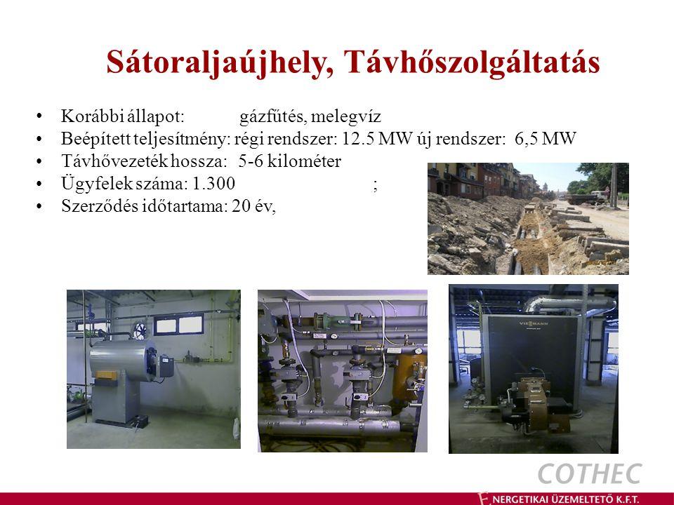Sátoraljaújhely, Távhőszolgáltatás Korábbi állapot: gázfűtés, melegvíz Beépített teljesítmény: régi rendszer: 12.5 MW új rendszer: 6,5 MW Távhővezeték hossza: 5-6 kilométer Ügyfelek száma: 1.300 ; Szerződés időtartama: 20 év,
