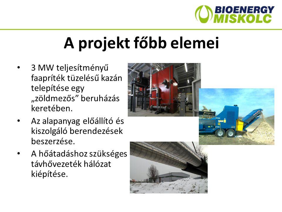 """A projekt főbb elemei 3 MW teljesítményű faapríték tüzelésű kazán telepítése egy """"zöldmezős"""" beruházás keretében. Az alapanyag előállító és kiszolgáló"""