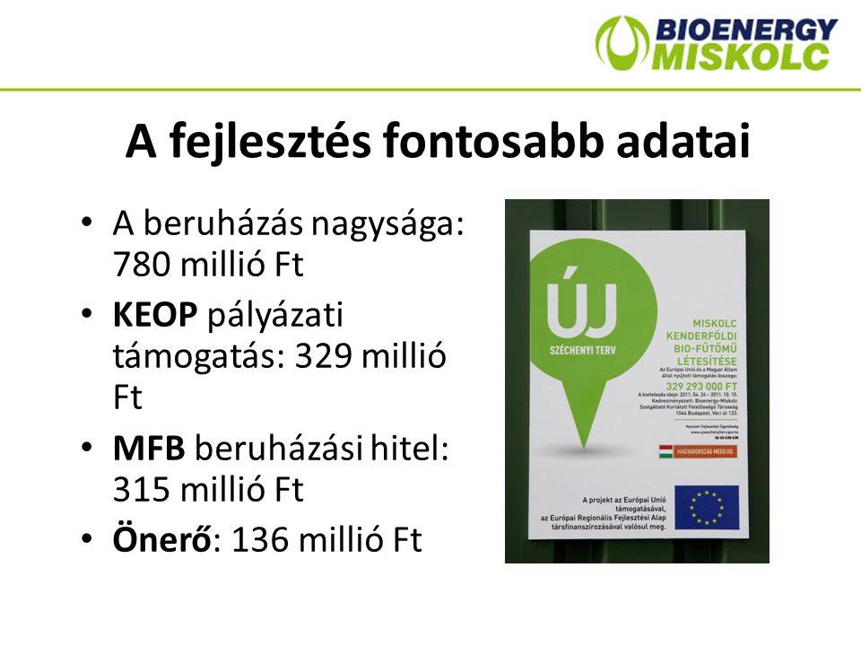 A fejlesztés fontosabb adatai A beruházás nagysága: 780 millió Ft KEOP pályázati támogatás: 329 millió Ft MFB beruházási hitel: 315 millió Ft Önerő: 1