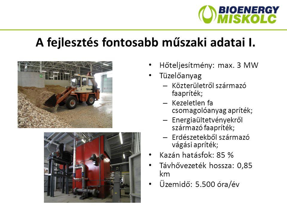 A fejlesztés fontosabb műszaki adatai I. Hőteljesítmény: max. 3 MW Tüzelőanyag – Közterületről származó faapríték; – Kezeletlen fa csomagolóanyag aprí