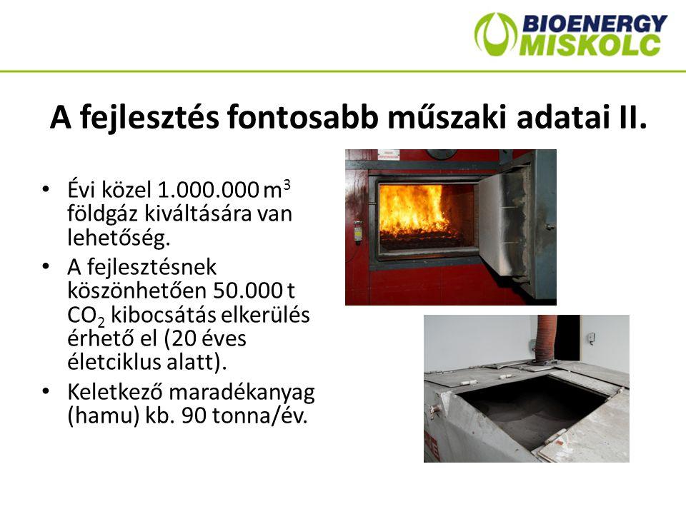 A fejlesztés fontosabb műszaki adatai II. Évi közel 1.000.000 m 3 földgáz kiváltására van lehetőség. A fejlesztésnek köszönhetően 50.000 t CO 2 kibocs