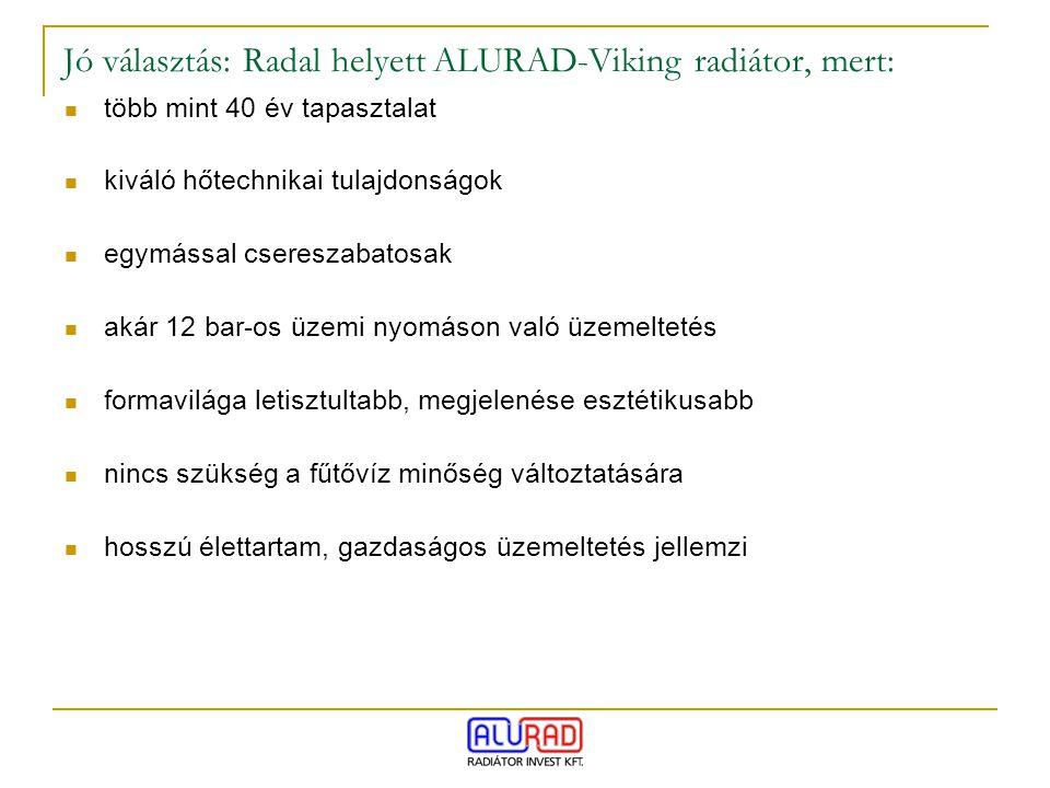 Jó választás: Radal helyett ALURAD-Viking radiátor, mert: több mint 40 év tapasztalat kiváló hőtechnikai tulajdonságok egymással csereszabatosak akár