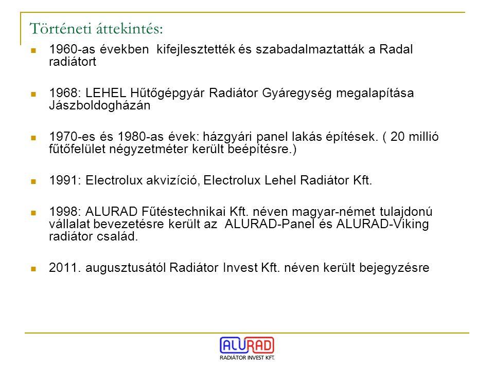 Történeti áttekintés: 1960-as években kifejlesztették és szabadalmaztatták a Radal radiátort 1968: LEHEL Hűtőgépgyár Radiátor Gyáregység megalapítása
