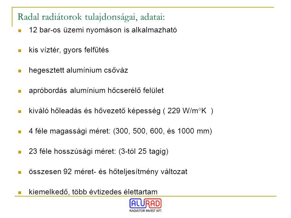 12 bar-os üzemi nyomáson is alkalmazható kis víztér, gyors felfűtés hegesztett alumínium csőváz apróbordás alumínium hőcserélő felület kiváló hőleadás és hővezető képesség ( 229 W/m  K ) 4 féle magassági méret: (300, 500, 600, és 1000 mm) 23 féle hosszúsági méret: (3-tól 25 tagig) összesen 92 méret- és hőteljesítmény változat kiemelkedő, több évtizedes élettartam
