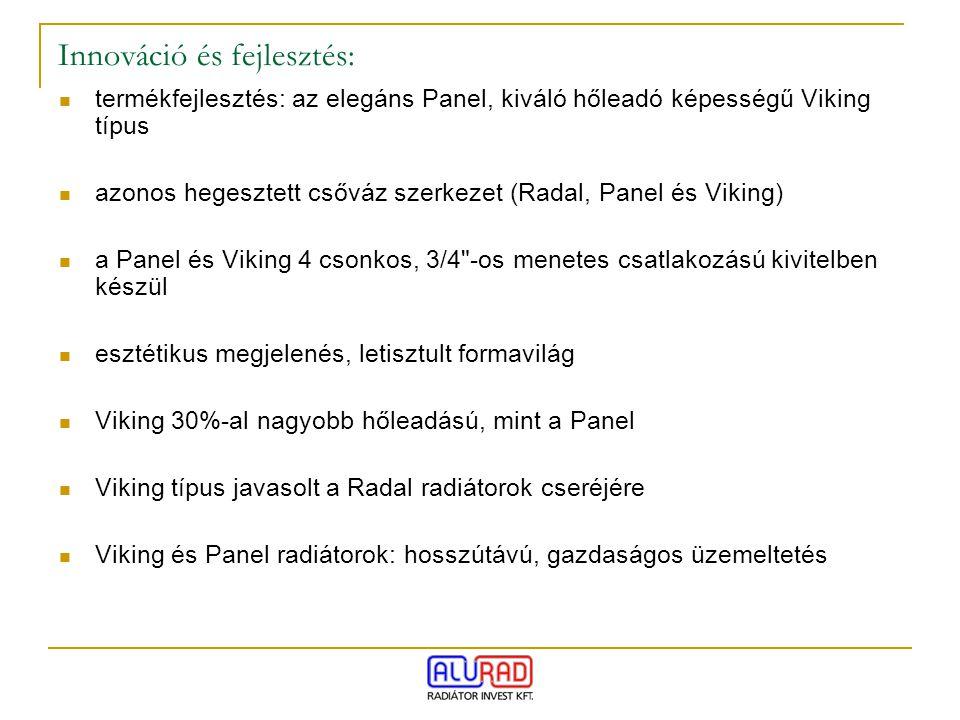 termékfejlesztés: az elegáns Panel, kiváló hőleadó képességű Viking típus azonos hegesztett csőváz szerkezet (Radal, Panel és Viking) a Panel és Vikin