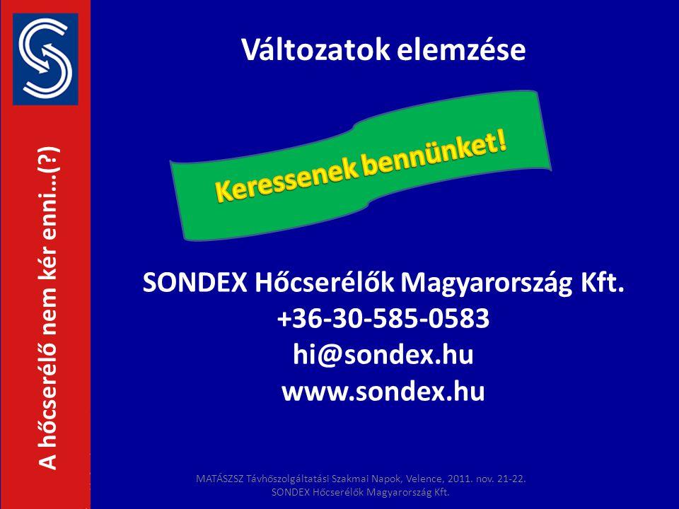 Változatok elemzése SONDEX Hőcserélők Magyarország Kft. +36-30-585-0583 hi@sondex.hu www.sondex.hu A hőcserélő nem kér enni…(?) MATÁSZSZ Távhőszolgált