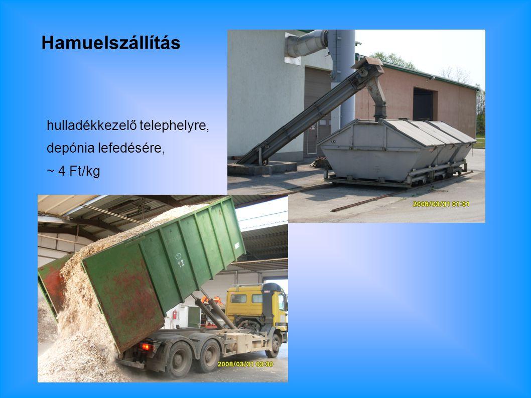 Hamuelszállítás hulladékkezelő telephelyre, depónia lefedésére, ~ 4 Ft/kg