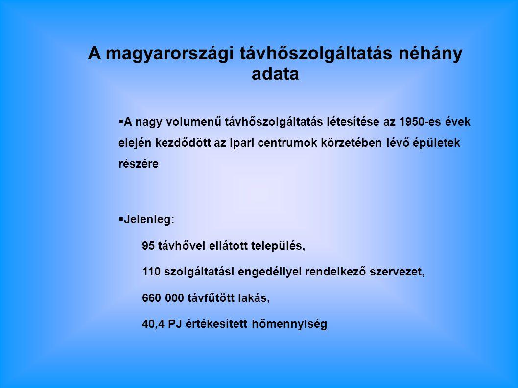 A magyarországi távhőszolgáltatás néhány adata  A nagy volumenű távhőszolgáltatás létesítése az 1950-es évek elején kezdődött az ipari centrumok körzetében lévő épületek részére  Jelenleg: 95 távhővel ellátott település, 110 szolgáltatási engedéllyel rendelkező szervezet, 660 000 távfűtött lakás, 40,4 PJ értékesített hőmennyiség