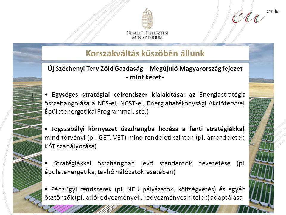 Korszakváltás küszöbén állunk Új Széchenyi Terv Zöld Gazdaság – Megújuló Magyarország fejezet - mint keret - Egységes stratégiai célrendszer kialakítása; az Energiastratégia összehangolása a NÉS-el, NCST-el, Energiahatékonysági Akciótervvel, Épületenergetikai Programmal, stb.) Jogszabályi környezet összhangba hozása a fenti stratégiákkal, mind törvényi (pl.