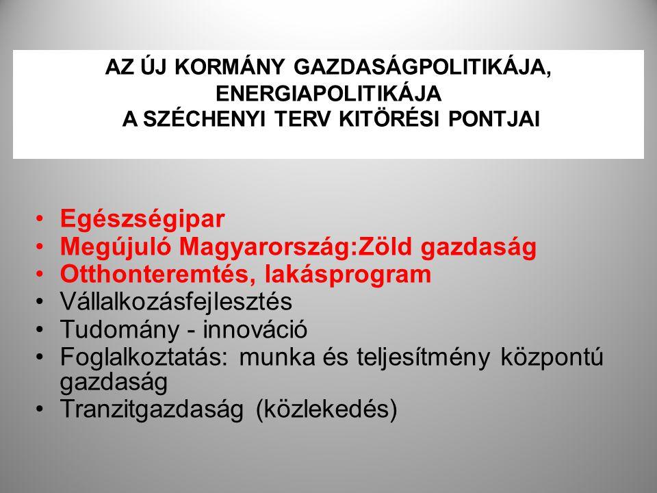 15 AZ ÚJ KORMÁNY GAZDASÁGPOLITIKÁJA, ENERGIAPOLITIKÁJA A SZÉCHENYI TERV KITÖRÉSI PONTJAI Egészségipar Megújuló Magyarország:Zöld gazdaság Otthonteremt
