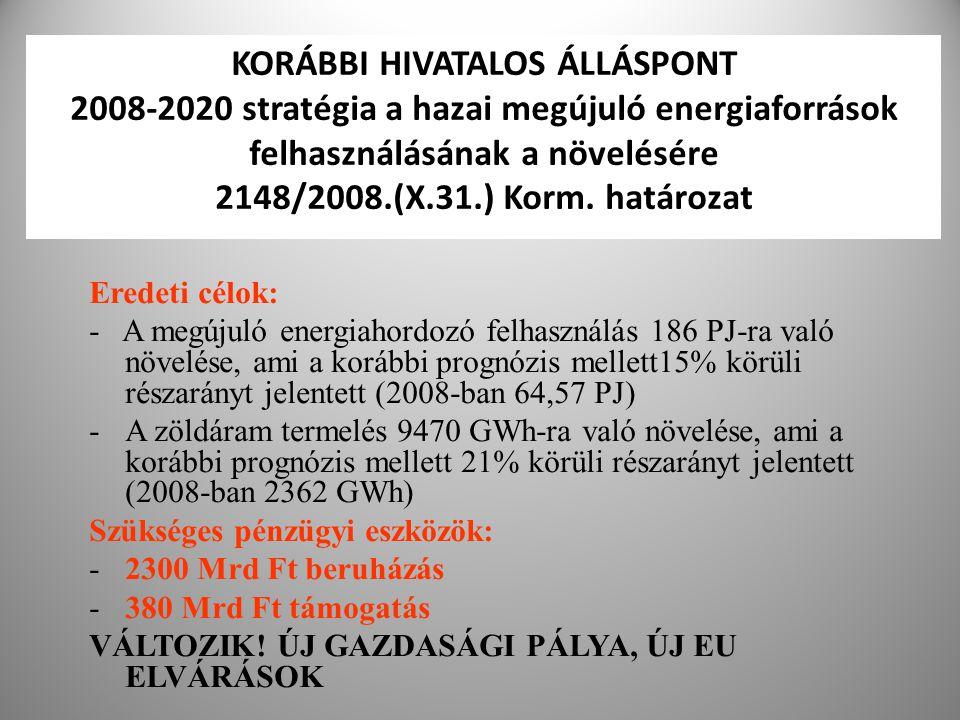 25 KORÁBBI HIVATALOS ÁLLÁSPONT 2008-2020 stratégia a hazai megújuló energiaforrások felhasználásának a növelésére 2148/2008.(X.31.) Korm. határozat Er