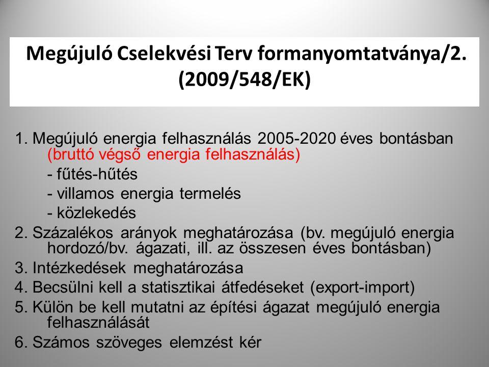 27 Megújuló Cselekvési Terv formanyomtatványa/2. (2009/548/EK) 1. Megújuló energia felhasználás 2005-2020 éves bontásban (bruttó végső energia felhasz