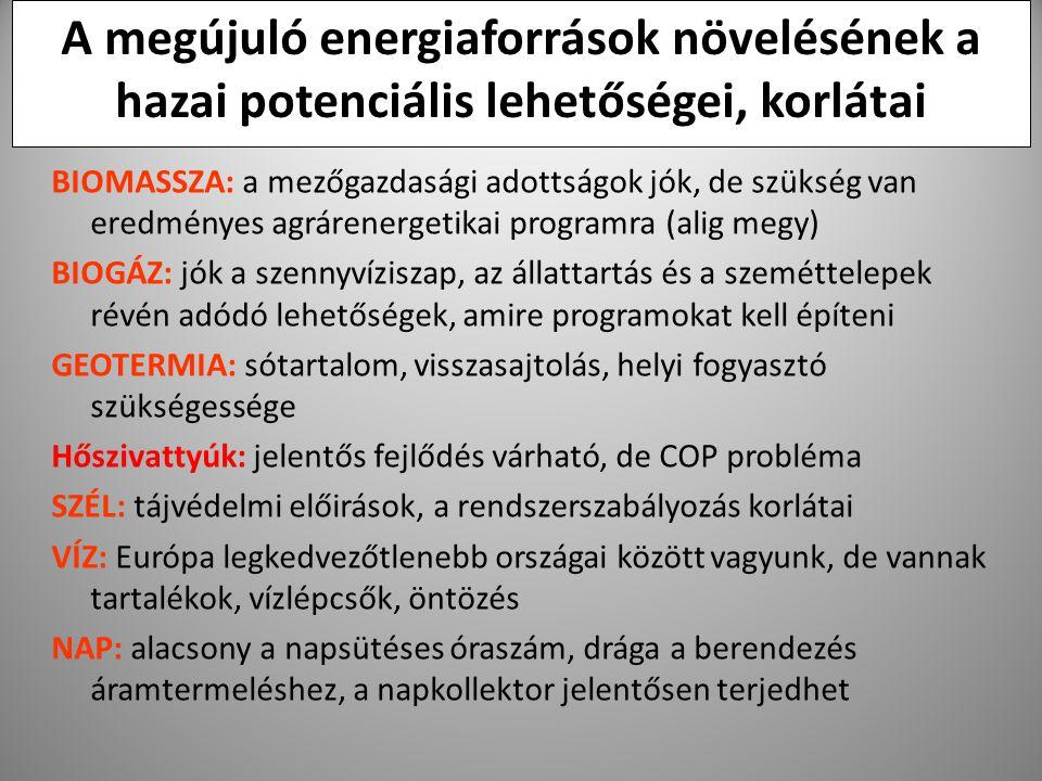 37 A megújuló energiaforrások növelésének a hazai potenciális lehetőségei, korlátai BIOMASSZA: a mezőgazdasági adottságok jók, de szükség van eredmény