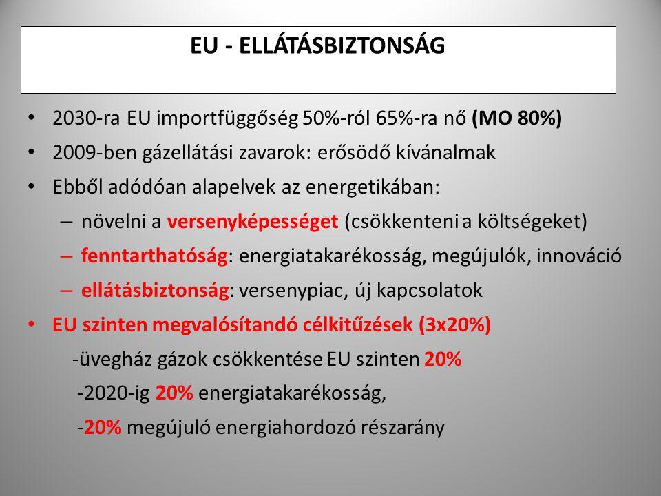 5 EU - ELLÁTÁSBIZTONSÁG 2030-ra EU importfüggőség 50%-ról 65%-ra nő (MO 80%) 2009-ben gázellátási zavarok: erősödő kívánalmak Ebből adódóan alapelvek