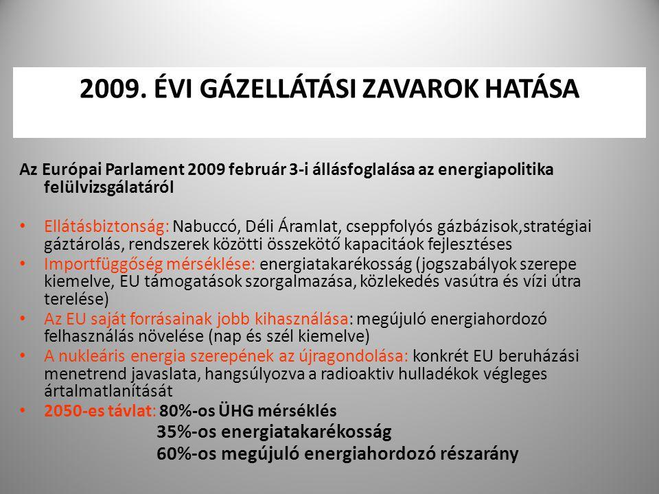 8 2009. ÉVI GÁZELLÁTÁSI ZAVAROK HATÁSA Az Európai Parlament 2009 február 3-i állásfoglalása az energiapolitika felülvizsgálatáról Ellátásbiztonság: Na