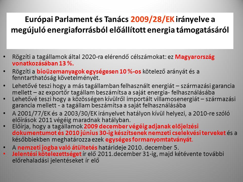 9 Európai Parlament és Tanács 2009/28/EK irányelve a megújuló energiaforrásból előállított energia támogatásáról Rögzíti a tagállamok által 2020-ra el