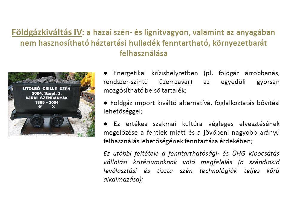 Földgázkiváltás IV: a hazai szén- és lignitvagyon, valamint az anyagában nem hasznosítható háztartási hulladék fenntartható, környezetbarát felhasznál