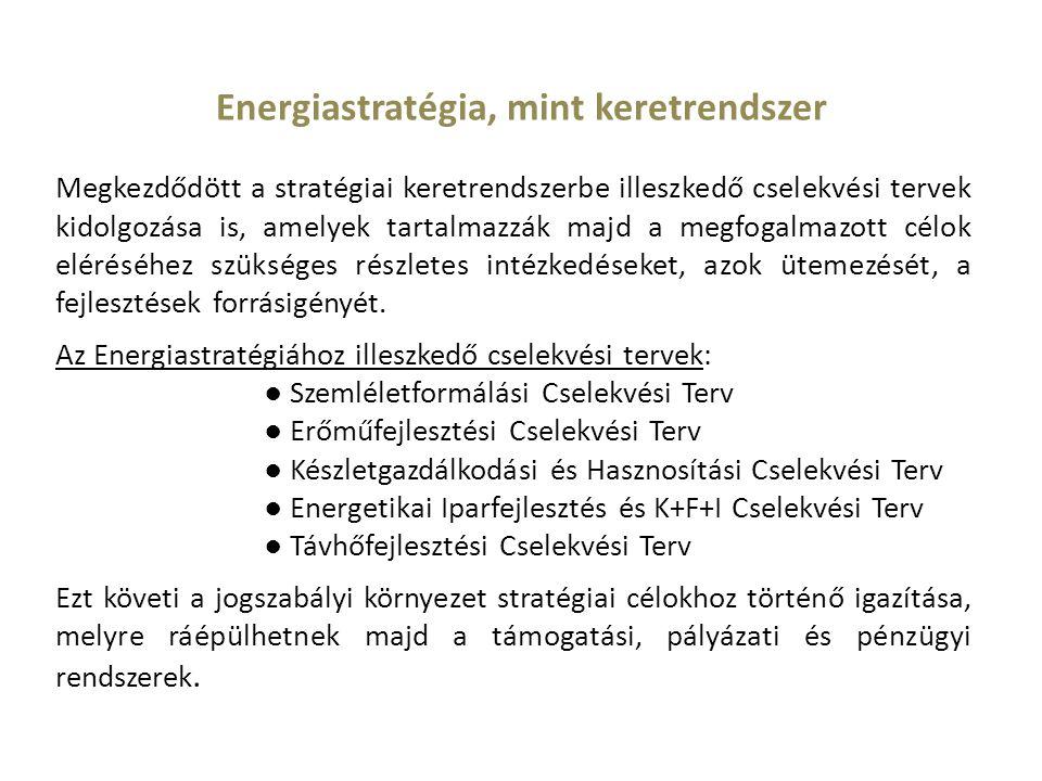 Energiastratégia, mint keretrendszer Megkezdődött a stratégiai keretrendszerbe illeszkedő cselekvési tervek kidolgozása is, amelyek tartalmazzák majd