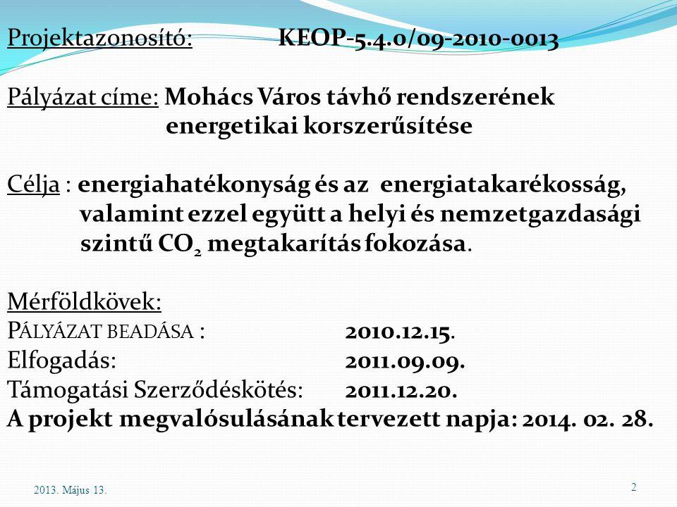 2 Projektazonosító:KEOP-5.4.0/09-2010-0013 Pályázat címe: Mohács Város távhő rendszerének energetikai korszerűsítése Célja : energiahatékonyság és az