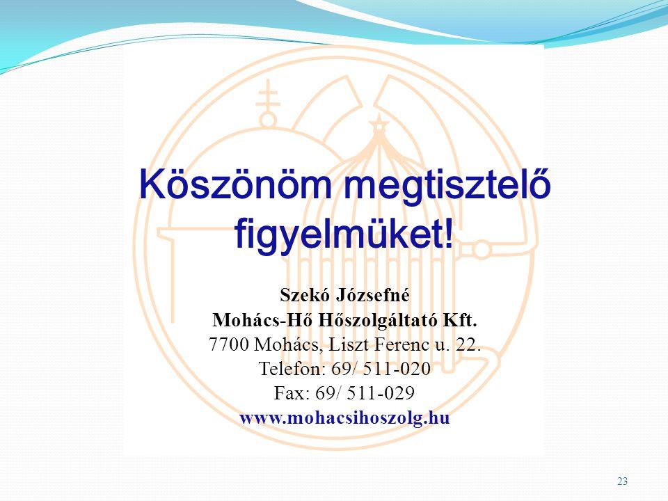 Köszönöm megtisztelő figyelmüket! Szekó Józsefné Mohács-Hő Hőszolgáltató Kft. 7700 Mohács, Liszt Ferenc u. 22. Telefon: 69/ 511-020 Fax: 69/ 511-029 w