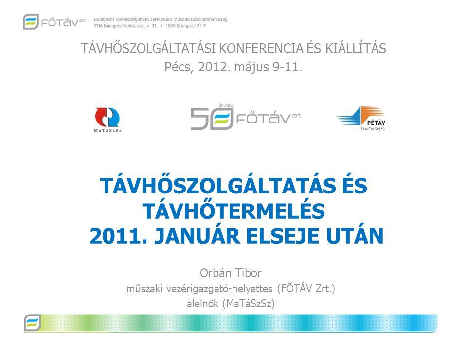 TÁVHŐSZOLGÁLTATÁS ÉS TÁVHŐTERMELÉS 2011. JANUÁR ELSEJE UTÁN TÁVHŐSZOLGÁLTATÁSI KONFERENCIA ÉS KIÁLLÍTÁS Pécs, 2012. május 9-11. Orbán Tibor műszaki ve
