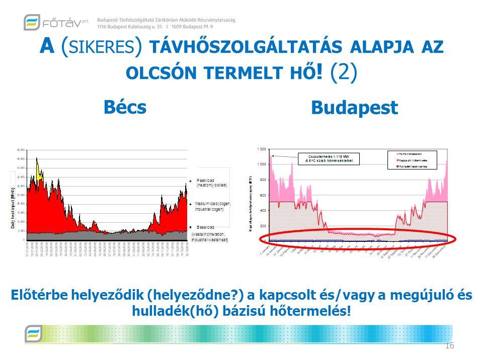 A ( SIKERES ) TÁVHŐSZOLGÁLTATÁS ALAPJA AZ OLCSÓN TERMELT HŐ ! (2) 16 Budapest Bécs Előtérbe helyeződik (helyeződne?) a kapcsolt és/vagy a megújuló és