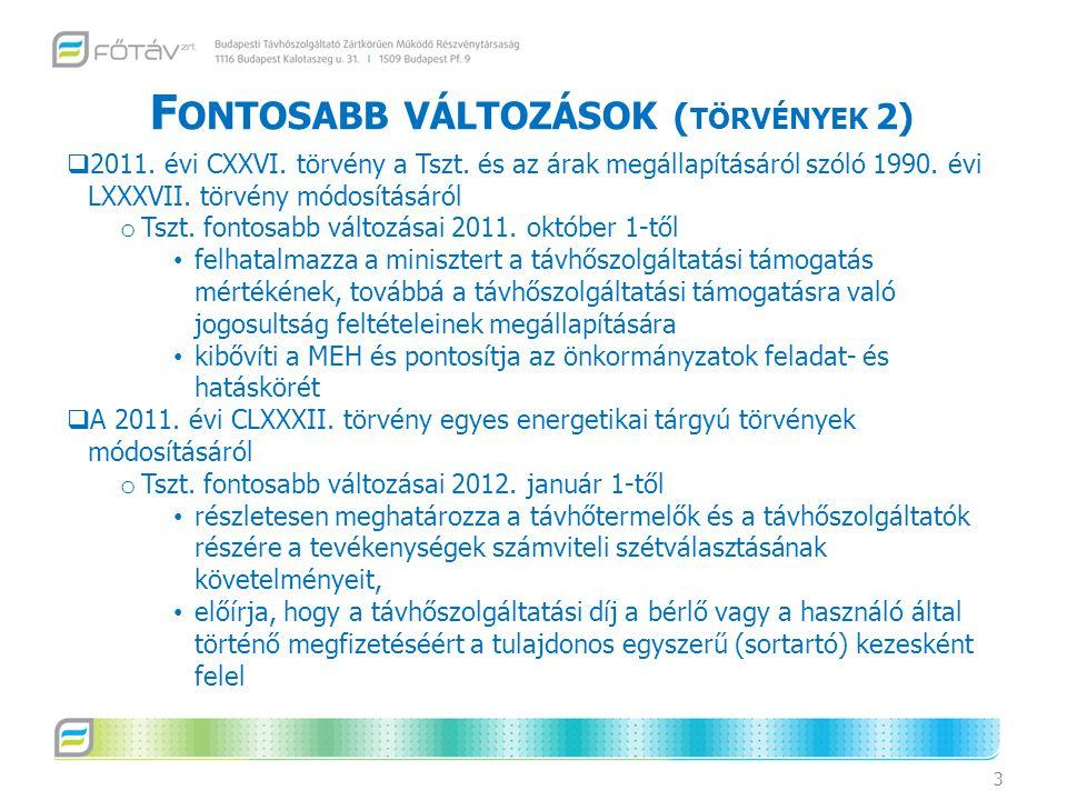 F ONTOSABB VÁLTOZÁSOK ( TÖRVÉNYEK 2) 3  2011. évi CXXVI. törvény a Tszt. és az árak megállapításáról szóló 1990. évi LXXXVII. törvény módosításáról o
