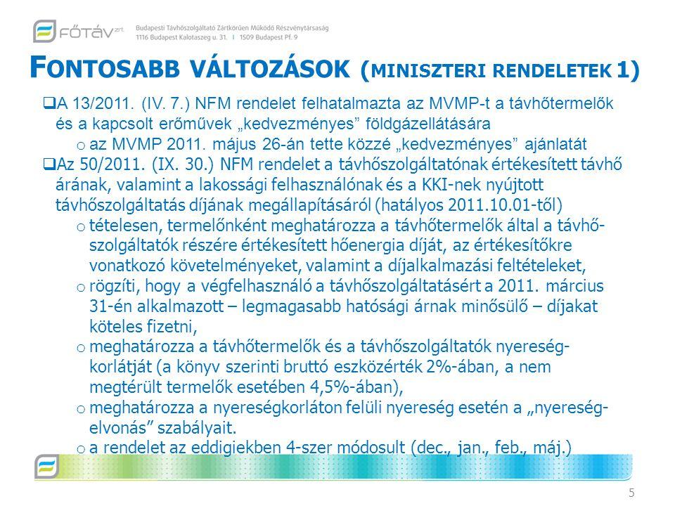 """F ONTOSABB VÁLTOZÁSOK ( MINISZTERI RENDELETEK 1) 5  A 13/2011. (IV. 7.) NFM rendelet felhatalmazta az MVMP-t a távhőtermelők és a kapcsolt erőművek """""""