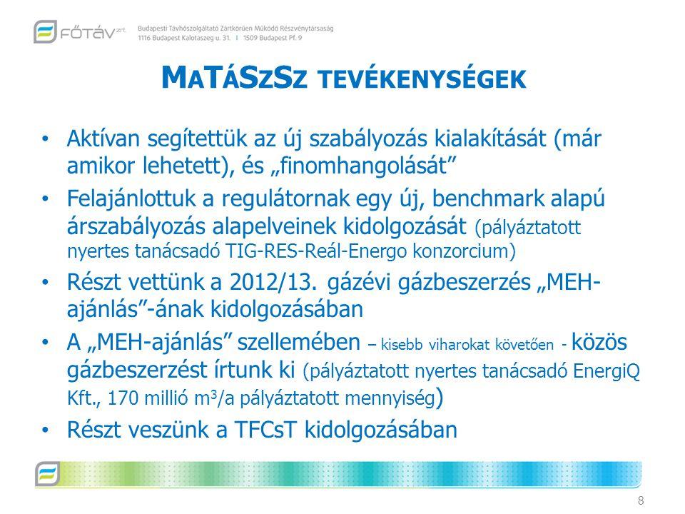 """M A T Á S Z S Z TEVÉKENYSÉGEK Aktívan segítettük az új szabályozás kialakítását (már amikor lehetett), és """"finomhangolását Felajánlottuk a regulátornak egy új, benchmark alapú árszabályozás alapelveinek kidolgozását (pályáztatott nyertes tanácsadó TIG-RES-Reál-Energo konzorcium) Részt vettünk a 2012/13."""