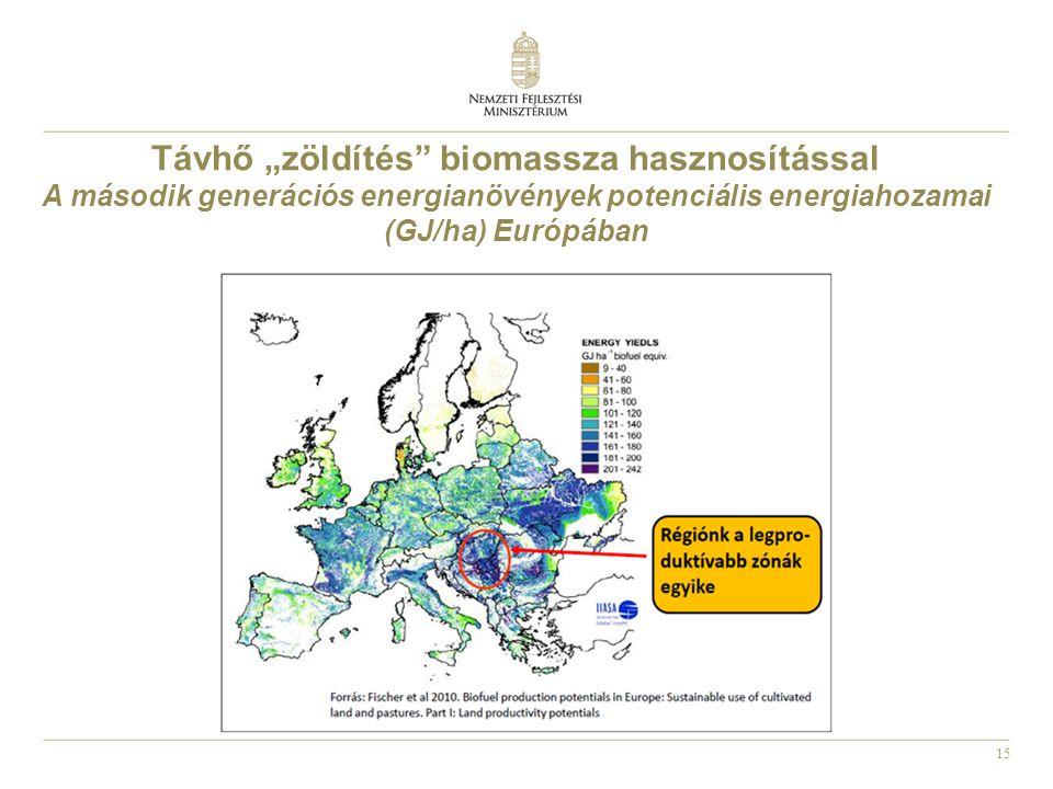 """15 Távhő """"zöldítés biomassza hasznosítással A második generációs energianövények potenciális energiahozamai (GJ/ha) Európában"""