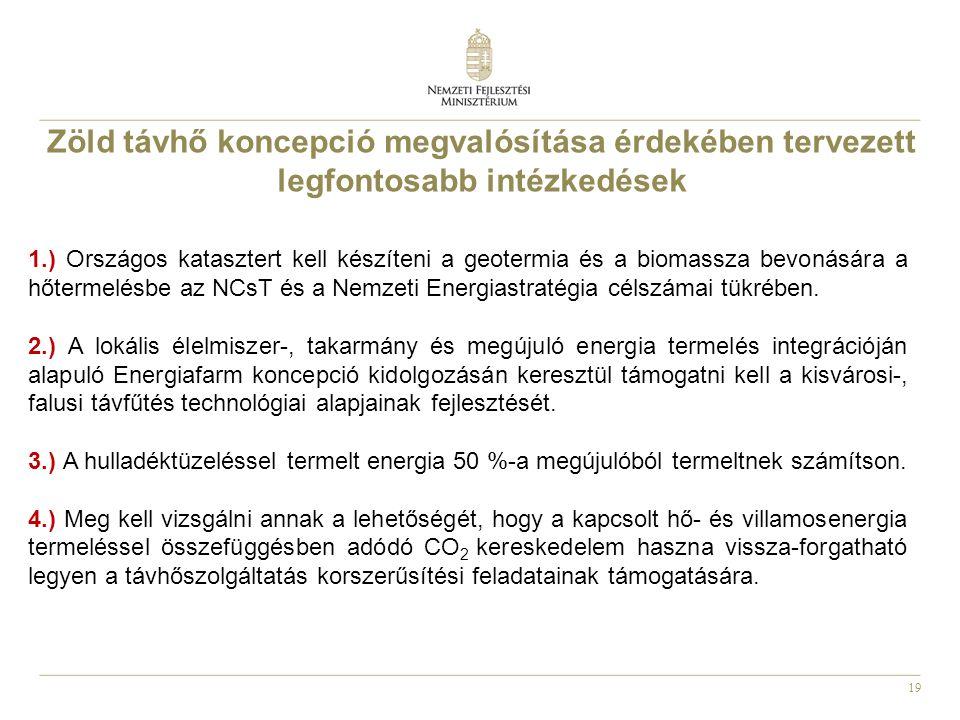 19 Zöld távhő koncepció megvalósítása érdekében tervezett legfontosabb intézkedések 1.) Országos katasztert kell készíteni a geotermia és a biomassza bevonására a hőtermelésbe az NCsT és a Nemzeti Energiastratégia célszámai tükrében.