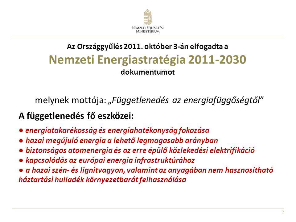"""2 Az Országgyűlés 2011. október 3-án elfogadta a Nemzeti Energiastratégia 2011-2030 dokumentumot melynek mottója: """"Függetlenedés az energiafüggőségtől"""