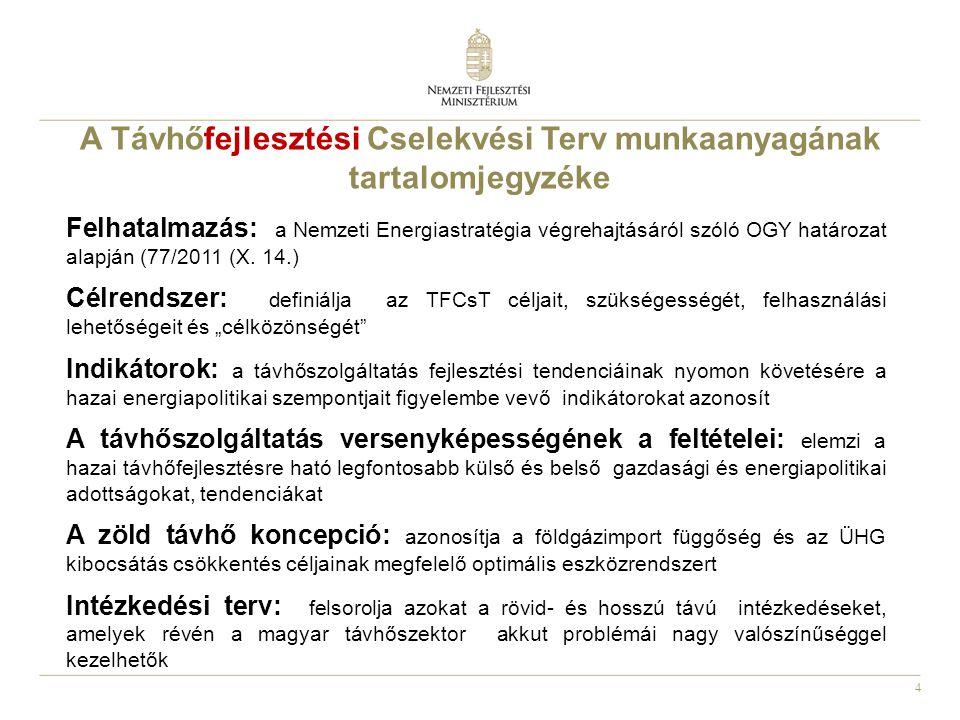 4 Felhatalmazás: a Nemzeti Energiastratégia végrehajtásáról szóló OGY határozat alapján (77/2011 (X. 14.) Célrendszer: definiálja az TFCsT céljait, sz