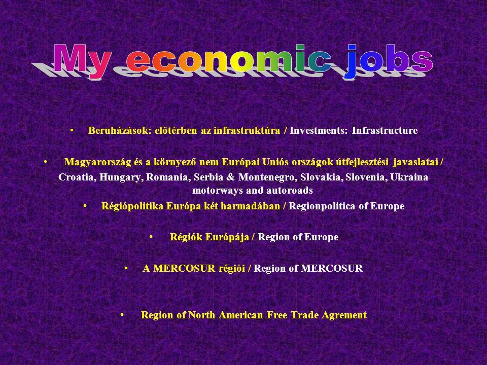 Beruházások: előtérben az infrastruktúra / Investments: Infrastructure Magyarország és a környező nem Európai Uniós országok útfejlesztési javaslatai