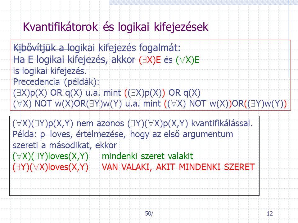 50/12 Kvantifikátorok és logikai kifejezések Kibővítjük a logikai kifejezés fogalmát: Ha E logikai kifejezés, akkor (  X)E és (  X)E is logikai kife