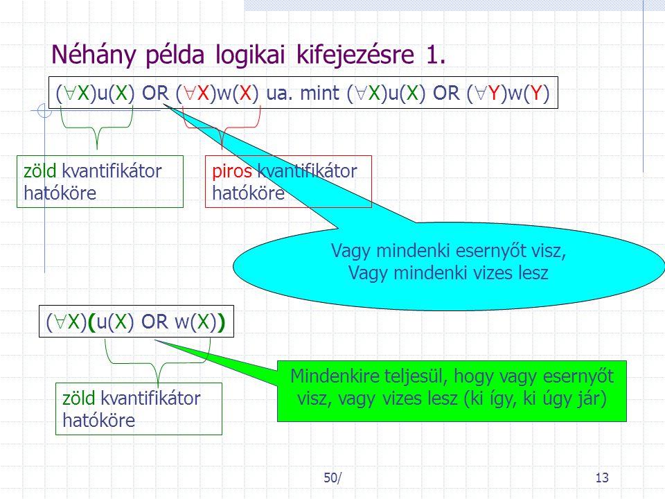 50/13 Vagy mindenki esernyőt visz, Vagy mindenki vizes lesz Néhány példa logikai kifejezésre 1. (  X)u(X) OR (  X)w(X) ua. mint (  X)u(X) OR (  Y)