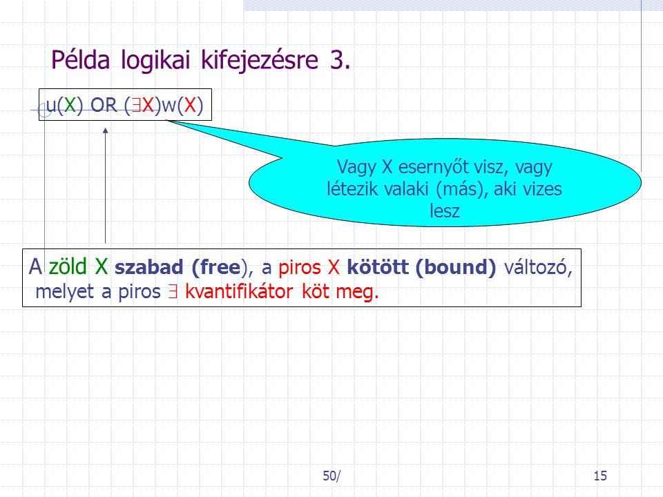 50/15 Példa logikai kifejezésre 3. u(X) OR (  X)w(X) Vagy X esernyőt visz, vagy létezik valaki (más), aki vizes lesz A zöld X szabad (free), a piros