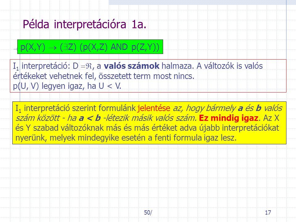 50/17 Példa interpretációra 1a. p(X,Y)  (  Z) (p(X,Z) AND p(Z,Y)) I 1 interpretáció: D , a valós számok halmaza. A változók is valós értékeket veh