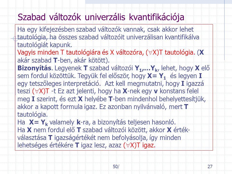 50/27 Szabad változók univerzális kvantifikációja Ha egy kifejezésben szabad változók vannak, csak akkor lehet tautológia, ha összes szabad változóit univerzálisan kvantifikálva tautológiát kapunk.