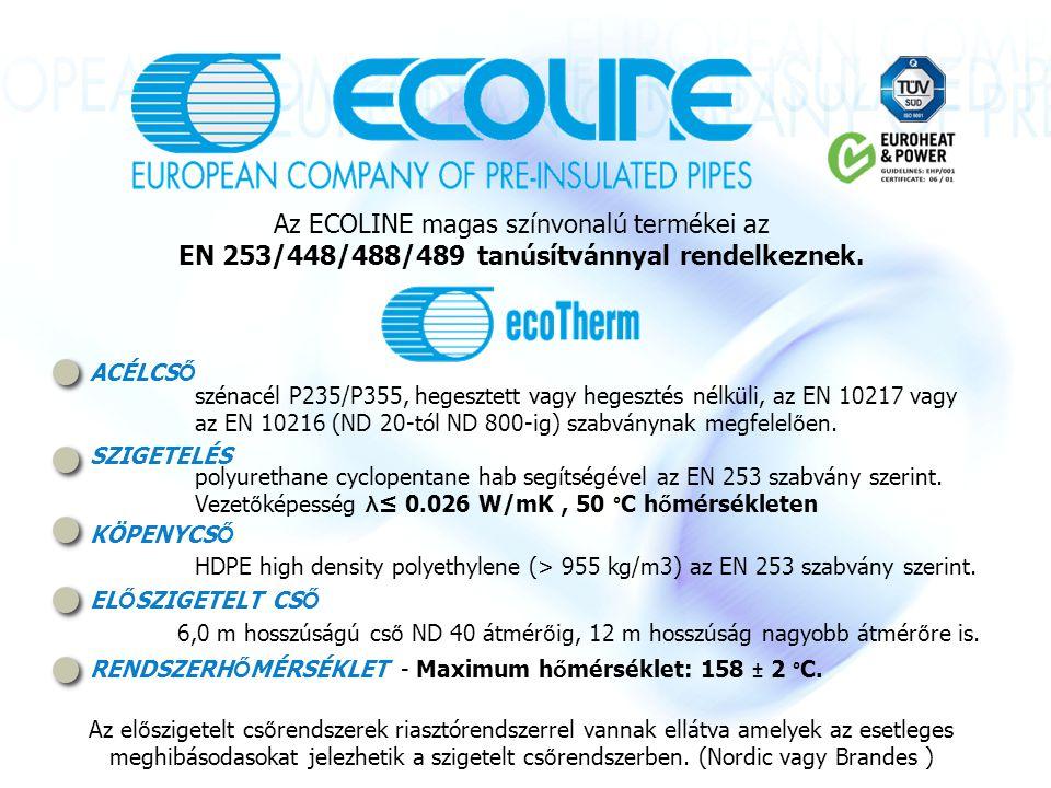 Az ECOLINE magas színvonalú termékei az EN 253/448/488/489 tanúsítvánnyal rendelkeznek.