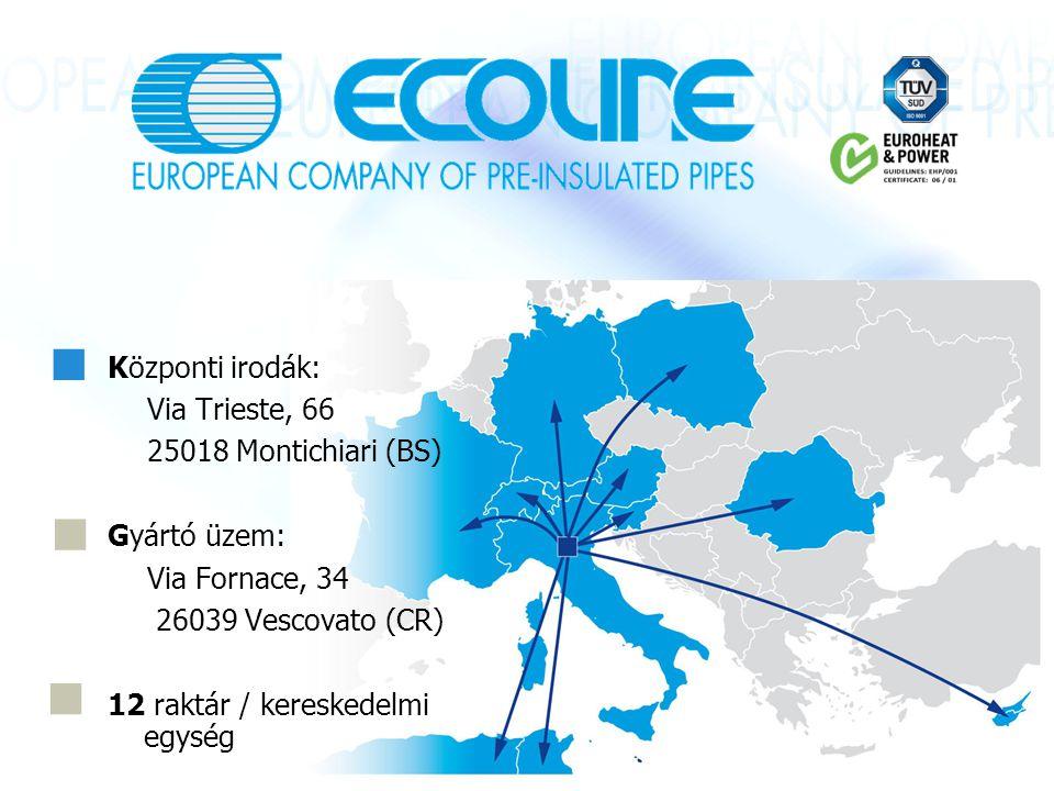 Központi irodák: Via Trieste, 66 25018 Montichiari (BS) Gyártó üzem: Via Fornace, 34 26039 Vescovato (CR) 12 raktár / kereskedelmi egység