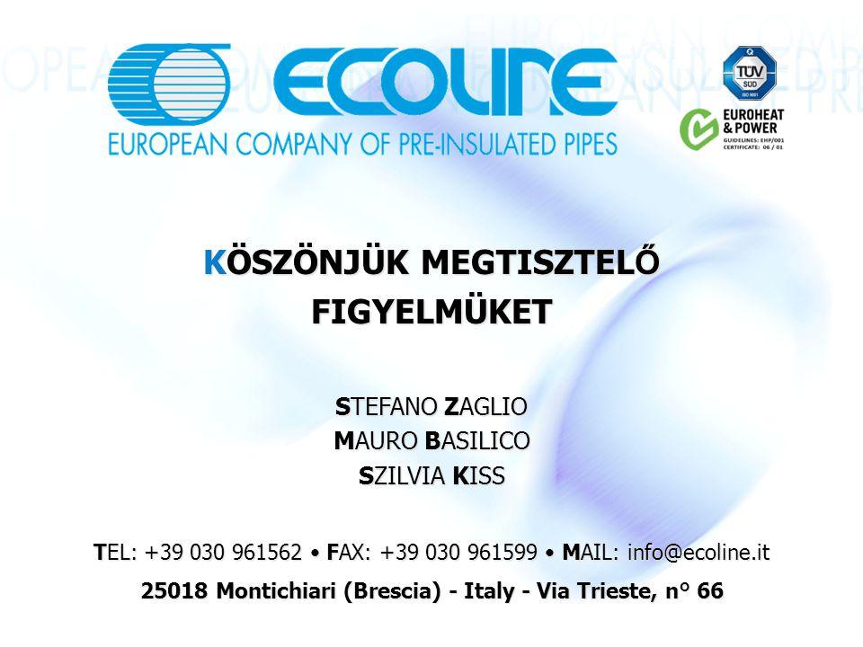KÖSZÖNJÜK MEGTISZTEL Ő FIGYELMÜKET STEFANO ZAGLIO MAURO BASILICO SZILVIA KISS TEL: +39 030 961562 FAX: +39 030 961599 MAIL: info@ecoline.it 25018 Montichiari (Brescia) - Italy - Via Trieste, n° 66