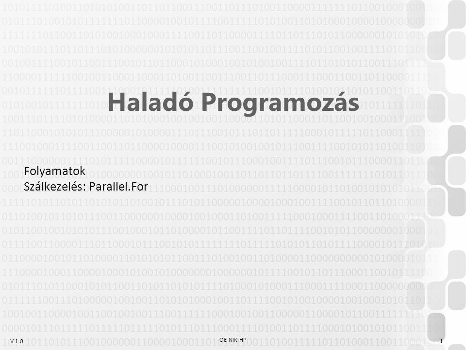 V 1.0 OE-NIK HP 1 Haladó Programozás Folyamatok Szálkezelés: Parallel.For